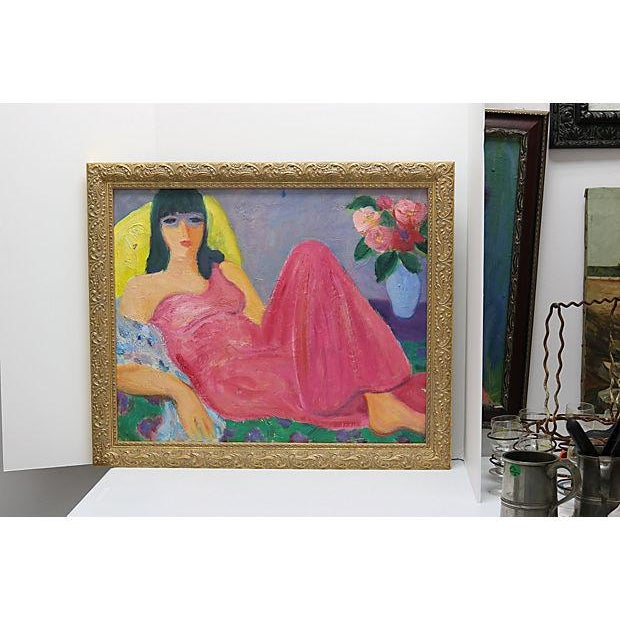 Mid-Century French Painting of a Woman - Image 3 of 3