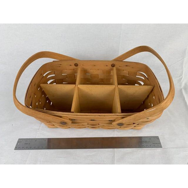Vintage Woven Longaberger Basket With Wood Divider For Sale - Image 6 of 6