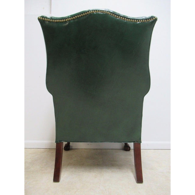 Vintage Chesterfield Style Tufted Ball & Claw Chippendale Wingback Chair - Image 10 of 11