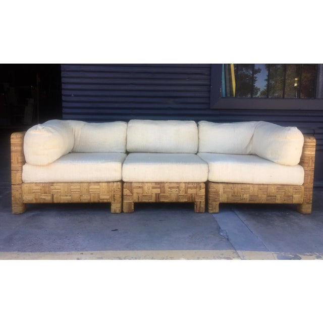 Vintage Woven Caning Sectional Sofa - Image 11 of 11