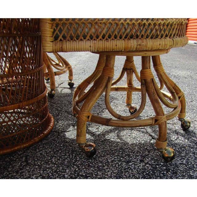Boho Chic Rattan and Bamboo Dining Table and Four Chairs - 5 Pieces For Sale - Image 4 of 10