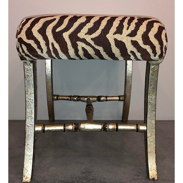 Hollywood Regency Silver Gilt Zebra Benches - a Pair For Sale - Image 4 of 13
