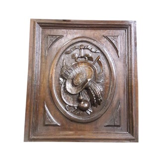 AntiqueFrench Provencal Large Carved Oak Panel Country Farmhouse Black Forrest Panel For Sale