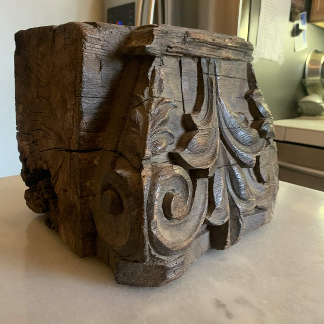 English Colonial Indian Carved Teak Column Base Architectural Element C 1890 For Sale - Image 4 of 13