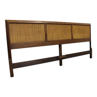 Mid-Century Modern Style Walnut Caned King Size Headboard For Sale