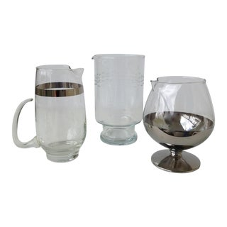 Assorted Glass & Silver Cocktail Mixers - Set of 3 For Sale
