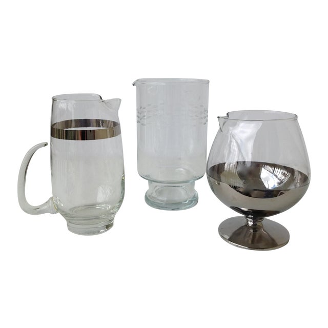 Assorted Glass & Silver Cocktail Mixers - Set of 3 - Image 1 of 10