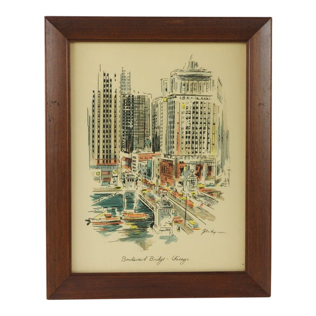 "1960s Vintage John Haymson Mid Century Modern Framed Print ""Boulevard Bridge, Chicago"" For Sale"