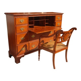 1980s Chippendale Style Mahogany Secretary Desk with Chair by Milling Road/Baker - 2 Pieces For Sale