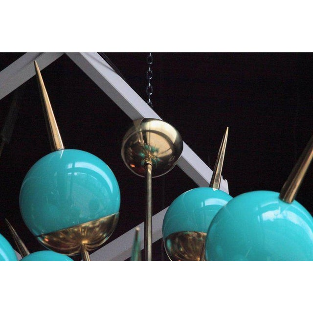 Mid-Century Modern 1 of 2 Huge Tiffany Turquoise Murano Glass and Brass Sputnik Chandeliers For Sale - Image 3 of 5