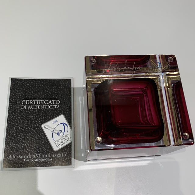 Cerise Magenta Italian Mandruzzato Murano Glass Hinged Box For Sale - Image 8 of 11