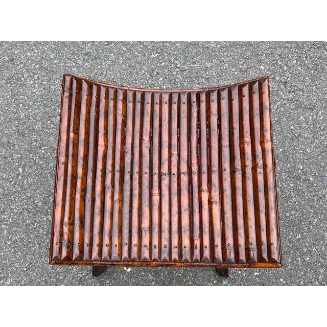 English English Bamboo Bench or Stool With Faux Tortoise Finish For Sale - Image 3 of 9