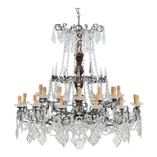 Monumental Italian Vintage Giltwood, Bronze and Crystal Chandelier For Sale