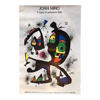 Vintage 1985 Original Joan Miro Italian Exhibition Poster For Sale