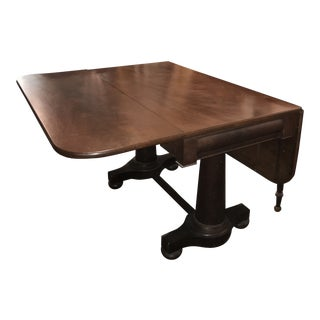 Circa 1840 Double Pedestal Drop Leaf Empire Table For Sale