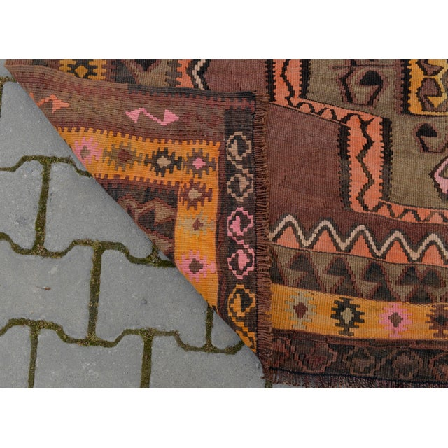 Turkish Hand Woven Kilim Rug - 5′1″ X 12′6″ - Image 9 of 10