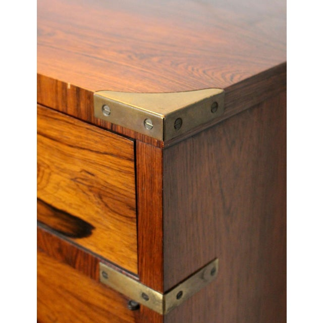 20th Century Campaign John Stuart Rosewood and Brass Highboy Dresser For Sale - Image 11 of 13