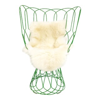 Patricia Urquiola Green Re-Trouve Highback Chair & Sheepskin For Sale