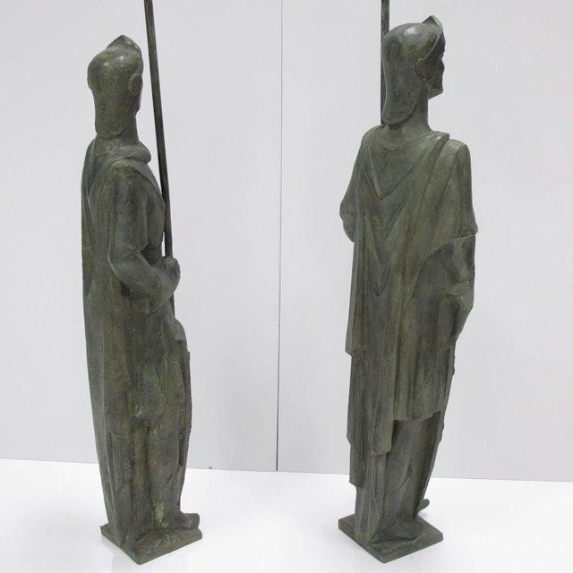 French Life-Size Bronze Statues Sculpture Middle Ages Knight in Armor, a Pair - Image 6 of 11