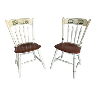 Ethan Allen Thumb Back Paint Decorated Side Chairs - a Pair For Sale