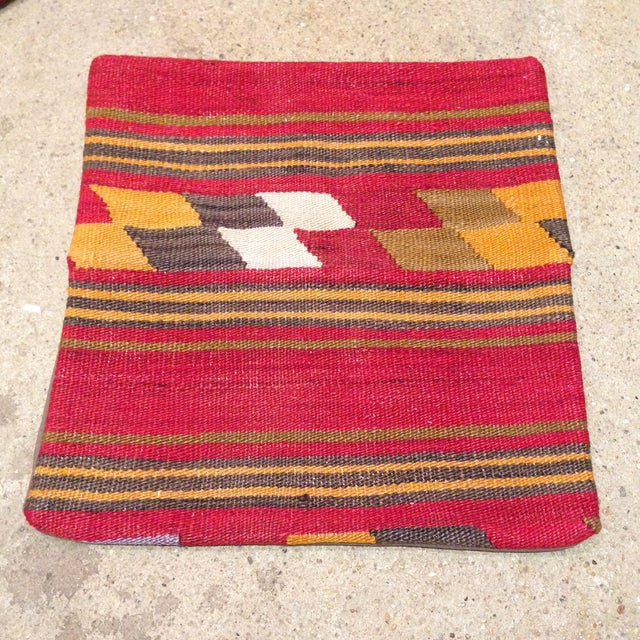 Vintage Kilim Pillow in Red & Gold - Image 2 of 4
