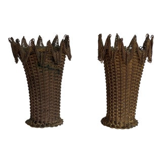 1920s Woven Wire Baskets - a Pair For Sale