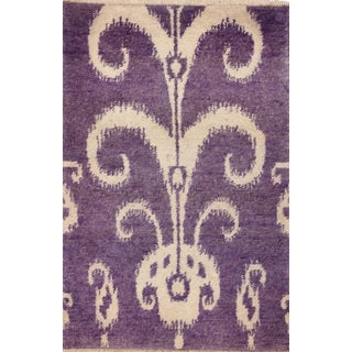Contemporary Lilac Ikat Small Rug - 2′2″ × 3′2″ For Sale