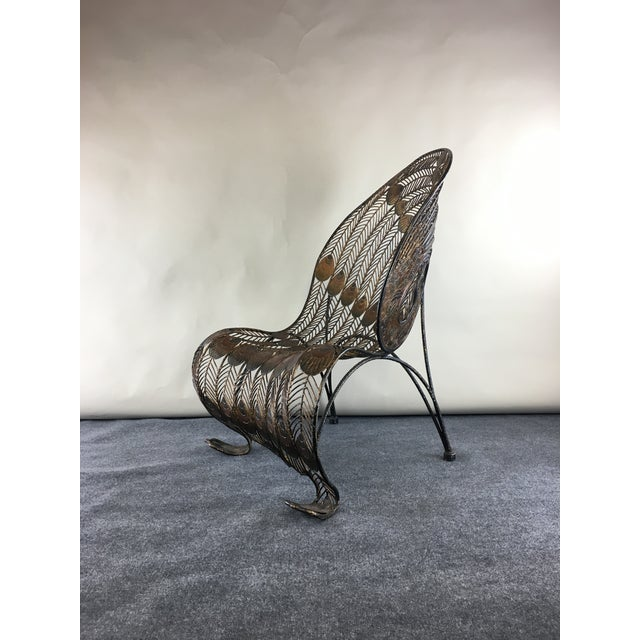 1990s Wrought Iron Sculptural Peacock Chair by Artmax For Sale - Image 9 of 11