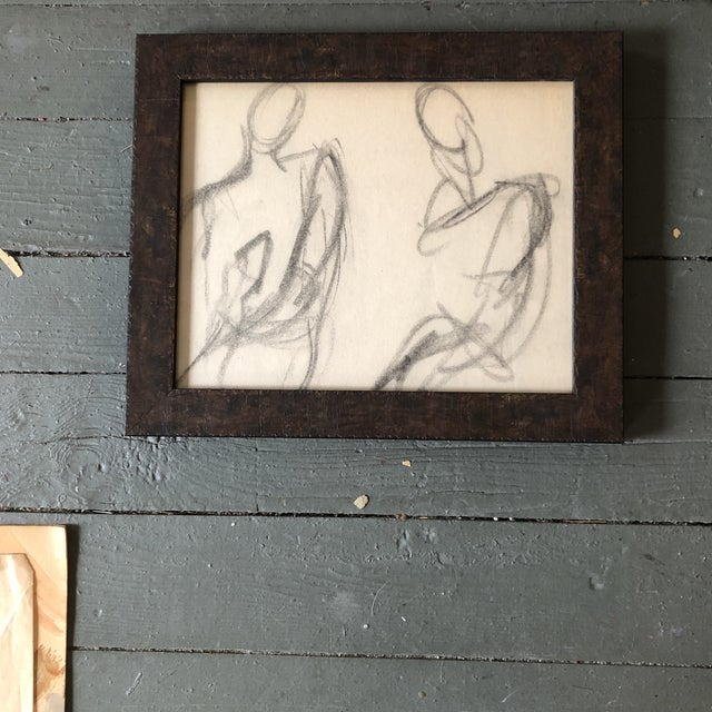 Vintage Original Abstract Charcoal Study Drawing Double Figures 1950's For Sale - Image 4 of 4