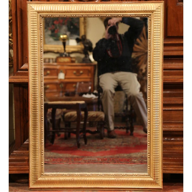 19th Century French Louis XVI Carved Gold Leaf Mirror with Two-Tone Stripe Motif For Sale - Image 4 of 9