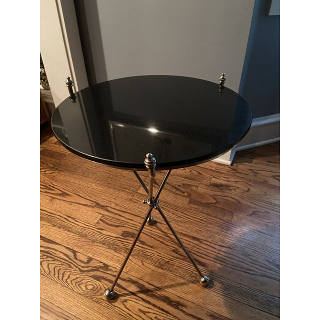 Metal Vintage Maison Bagues Nickel and Marble Campaign Style Tripod Side Table For Sale - Image 7 of 9