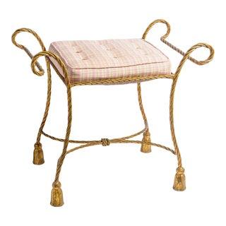 Vintage Italian Gilt Metal Rope & Tassel Upholstered Bench, C.1950 For Sale
