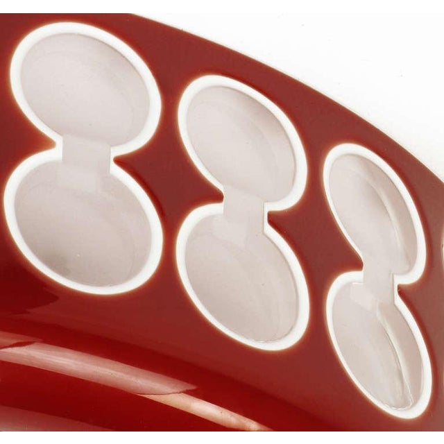 Hungarian Hand-Cut Red and White Cased Glass Bowl For Sale In Chicago - Image 6 of 6