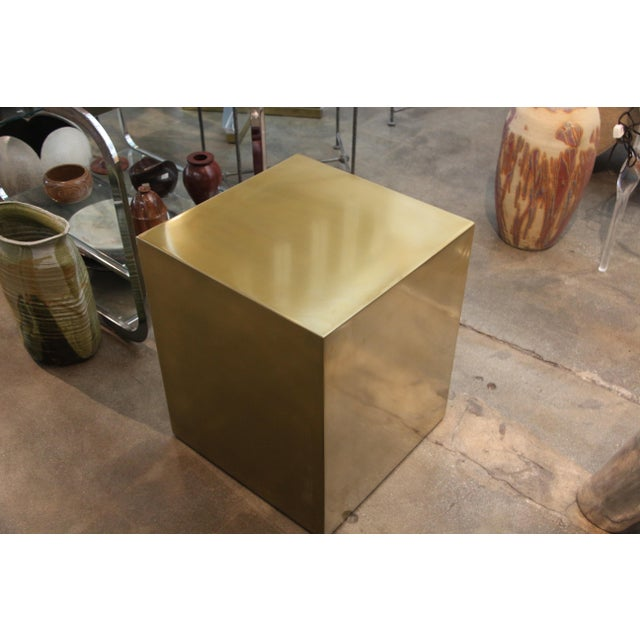 Contemporary Bridges Over Time Originals Brass Coated Cube Table For Sale - Image 3 of 10