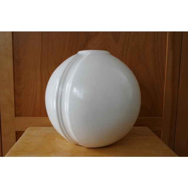 """Statement piece alert! """"Ball Like"""" round vase with stripe running around it, would be great with decorative twigs or..."""
