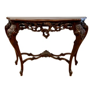 French Rococo Style Carved Walnut Entry Console Table For Sale