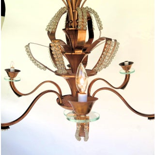 Hollywood Regency Copper & Crystal Bead Six Light Chandelier Preview
