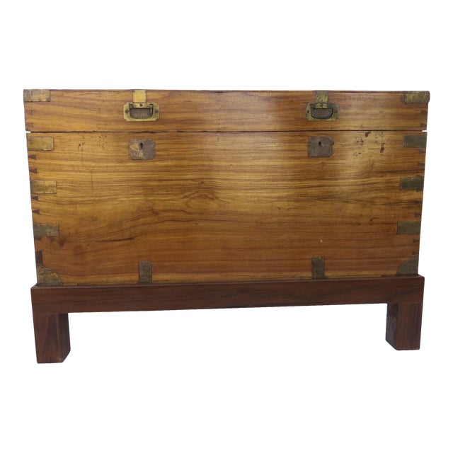 Early 19th Century Camphor Wood Campaign Chest on Stand For Sale