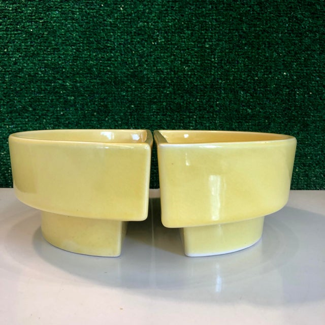 Mid-Century Modern Yellow Ikebana Planters, Pair For Sale - Image 3 of 8