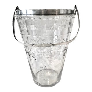 Signed Hawkes Crystal and Sterling Silver Ice Bucket For Sale