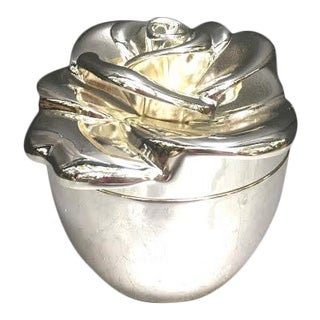 Silver Rose Velvet-Lined Jewelry Box For Sale