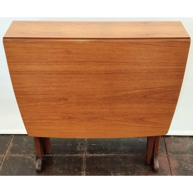 Mid-Century Scottish Modern Style Drop Leaf Table by Legate Scotland For Sale - Image 10 of 11
