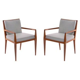 1950s t.h. Robsjohn-Gibbings Widdicomb Walnut Leather Armchairs - a Pair For Sale