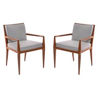 t.h. Robsjohn-Gibbings Widdicomb Walnut Leather Armchairs For Sale