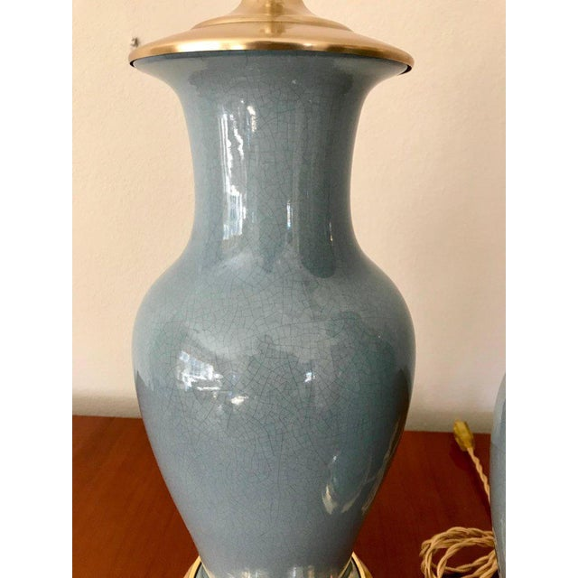 Slate Blue Ceramic on 23-Karat Water Gilt Base Table Lamps - a Pair For Sale - Image 9 of 13