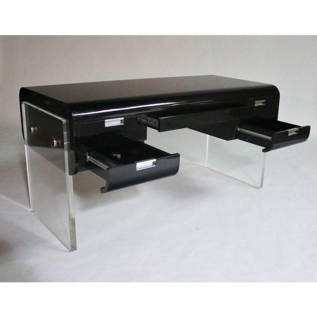 Lacquer Pace Floating Desk on Lucite Frame For Sale - Image 7 of 10