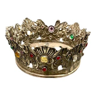 Mid 20th Century Silver Crown With Jewels For Sale