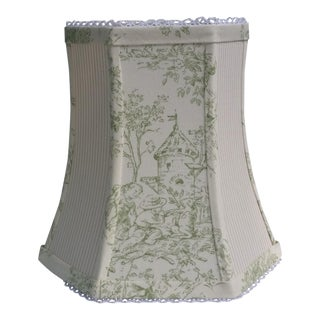 Pastel Freen Toile Beige Ticking Clip On Lampshade For Sale