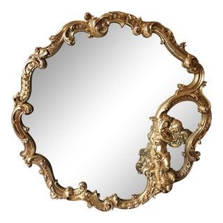 Gilded Cherub Angel Wall Mirror For Sale