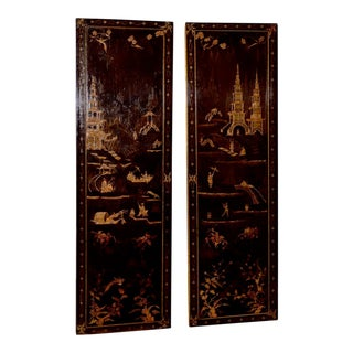 18th to 19th Century Chinese Hand Painted Door Panels - a Pair For Sale